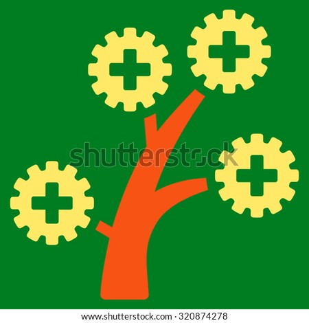 Medical Technology Tree glyph icon. Style is bicolor flat symbol, orange and yellow colors, rounded angles, green background. - stock photo