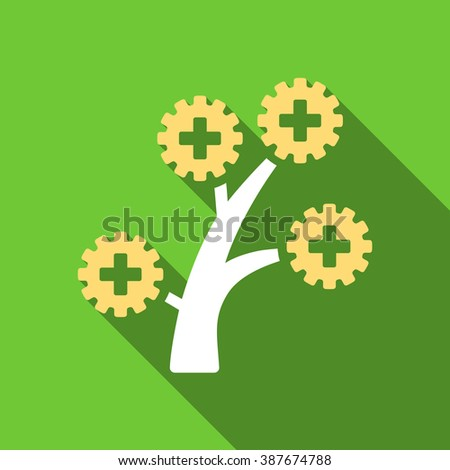 Medical Technology Tree long shadow raster icon. Style is a flat symbol with rounded angles on a green square symbol. - stock photo