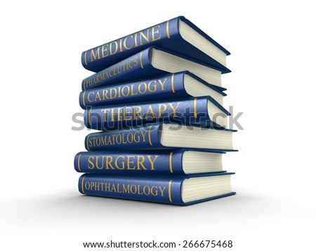 Medical textbooks (clipping path included) - stock photo