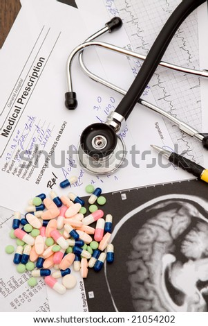 medical theme - doctors desk with documents and stethoscope