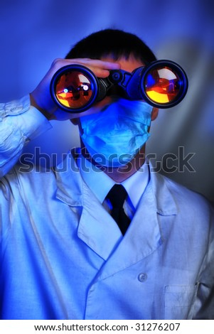 Medical theme: scientists  in a laboratory, research process. - stock photo