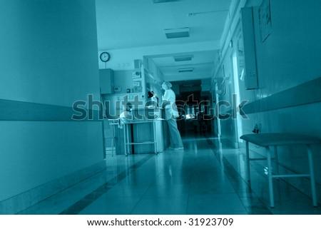Medical theme: shot of a hospital corridor. - stock photo