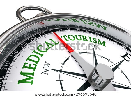 medical tourism sign on concept compass, isolated on white background - stock photo