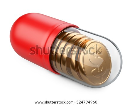 Medical transparent capsule with a golden coins. Isolated on a white background 3d image. - stock photo
