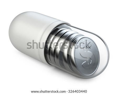 Medical transparent capsule with a silver coins. Isolated on a white background 3d image. - stock photo