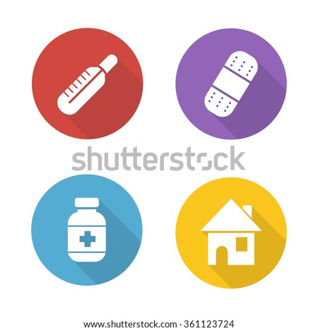 Medical treatment flat design icons set. Fever symbol with red thermometer. Bandaid and medication pills bottle. White silhouette illustrations on color circles. Raster  infographics elements - stock photo