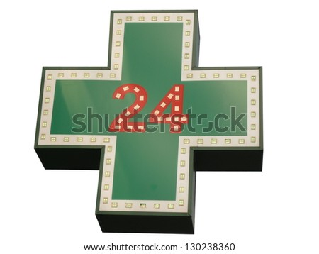 medical  twenty-four-hour drugstore signboard isolated - stock photo