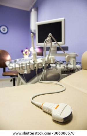 Medical ultrasound diagnostic machine ready to work - stock photo