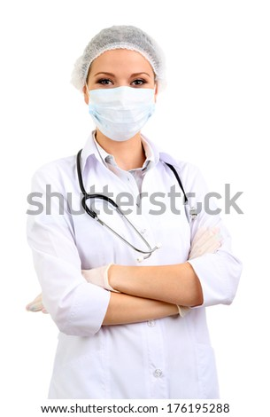 Medical worker isolated on white