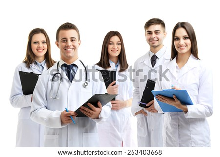 Medical workers isolated on white - stock photo