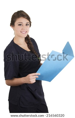 Medical young woman nurse doctor intern portrait holding blue file folder isolated on white - stock photo