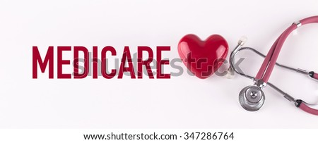 MEDICARE concept with stethoscope and heart shape - stock photo