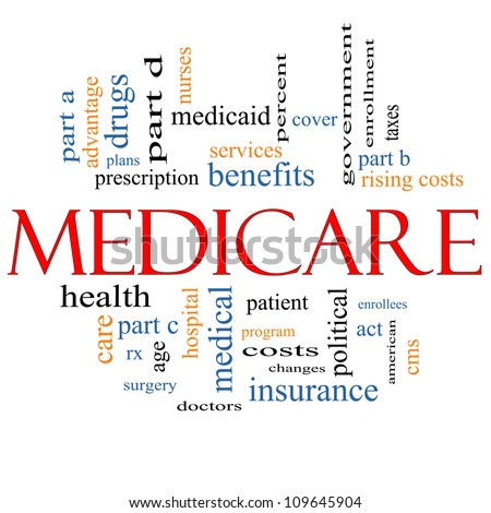 Medicare Word Cloud Concept with great terms such as health, care, advantage, hospital, tax, enrollment, part d and more - stock photo