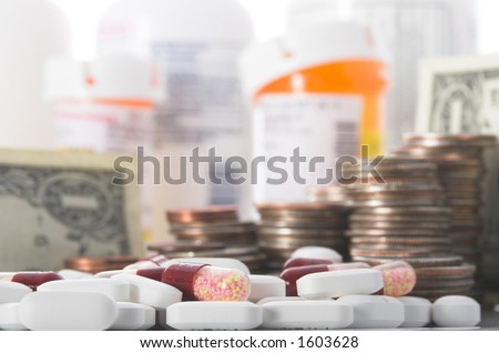 Medication and money piled high, illustrating the increasing cost of health care