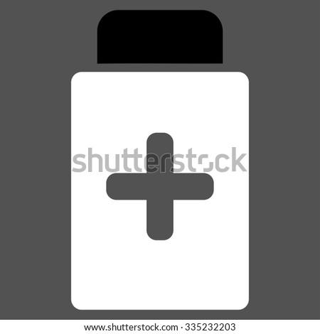 Medication Bottle glyph icon. Style is bicolor flat symbol, black and white colors, rounded angles, gray background.