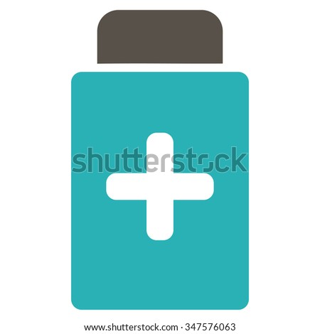 Medication Bottle glyph icon. Style is bicolor flat symbol, grey and cyan colors, rounded angles, white background.