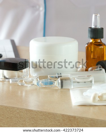 Medication for non-surgical cosmetic procedures on a table of a dermatologist in a aesthetic centre.