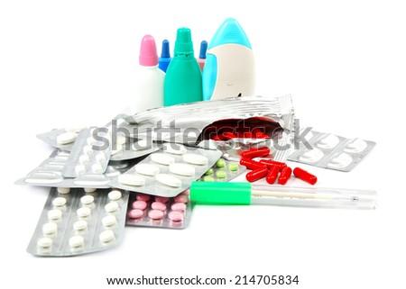 Medication isolated on white background. - stock photo