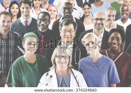 Medication Profession Occupation Team Smiling Concept - stock photo