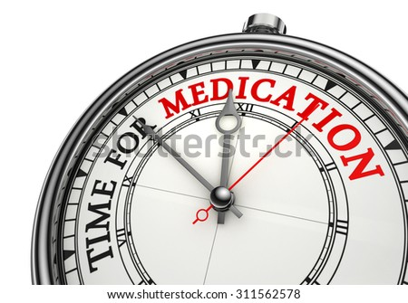 medication time red word on conceptual clock, isolated on white background