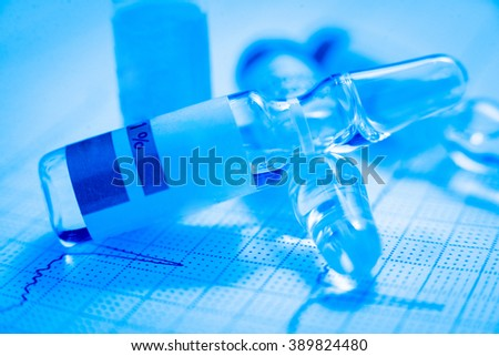 Medications. Medical background. Pills and syringes
