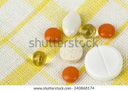 Medications prepared for use at home or in hospital in the form of pills - stock photo