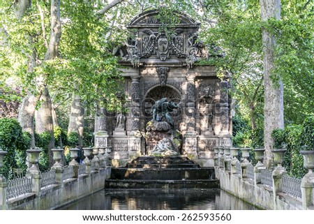 Medici Fountain in the Luxembourg Garden (Jardin du Luxembourg). It was built in about 1630 by Marie de'Medici, the widow of King Henry IV of France. Paris. - stock photo
