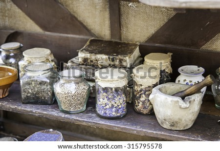 Medicinal herbs, detail of traditional medicine, witchcraft and superstition - stock photo