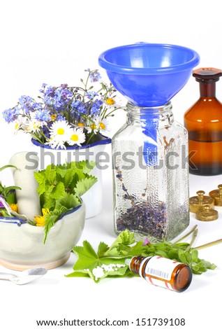Medicinal herbs, homeopathy - stock photo