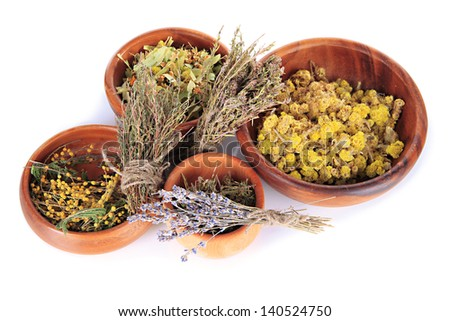 Medicinal Herbs in wooden bowls isolated on white - stock photo