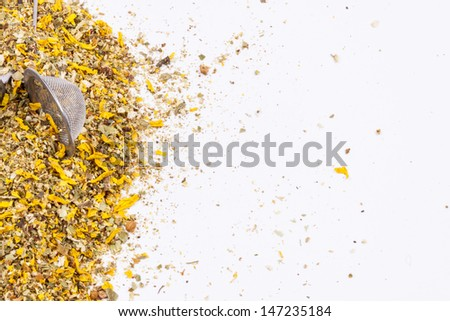 Medicinal herbs perfect for flu on white background. - stock photo