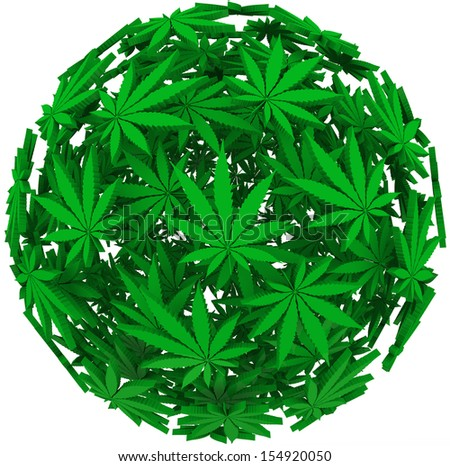 Medicinal marijuana leaves in a sphere background pattern to illustrate medical uses of cannabis - stock photo