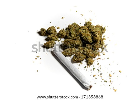 Medicinal marijuana on white with a joint, side lighting. - stock photo