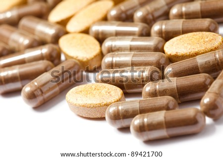 Medicinal pills piled up a bunch of closeup
