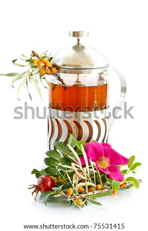 medicinal tea from different berries and medicinal herbs