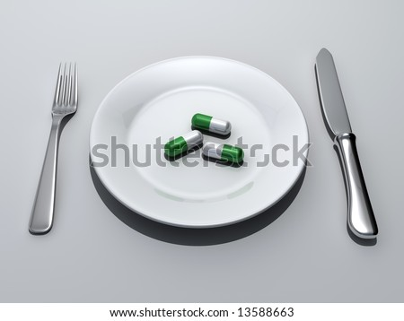 Medicine abuse concept - three pills in a plate - 3d render