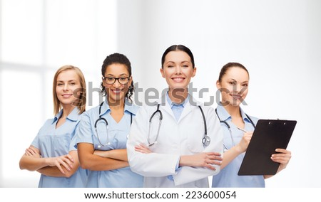medicine and healthcare concept - team or group of female doctors and nurses - stock photo