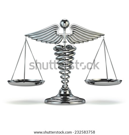 Medicine and justice. Caduceus symbol as scales. Conceptual image. 3d - stock photo