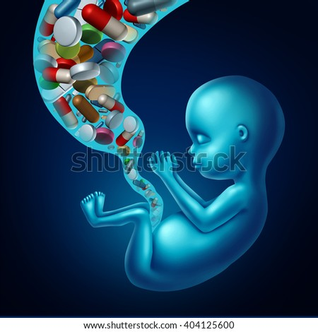 Medicine and pregnancy medical concept as medication with pills and prescription drugs flowing in through the umbilical cord of a fetus for pregnant woman risk to the unborn as a 3D illustration. - stock photo