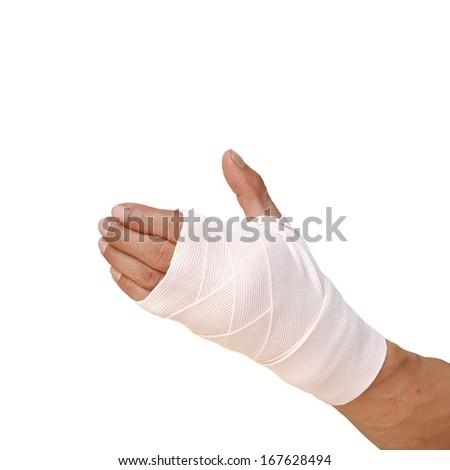 medicine bandage on human injury hand - stock photo