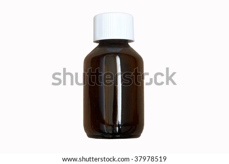 Medicine bottle in brown isolated on white