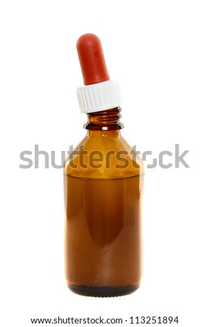 Medicine bottle in front of a white background