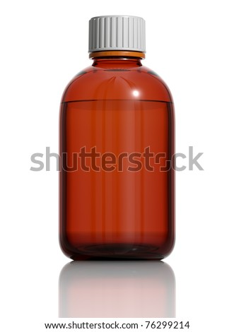 Medicine bottle of brown glass isolated on white background with liquid and white plastic cap. Frontal view, blank for label. 3d.