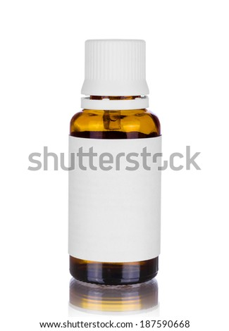 Medicine bottle of brown glass or plastic isolated on white  - stock photo