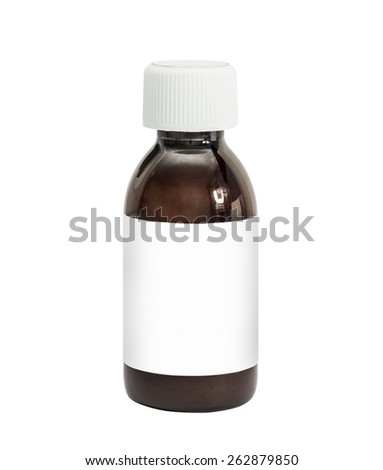 Medicine bottle of brown glass or Plastic isolated on white background - stock photo