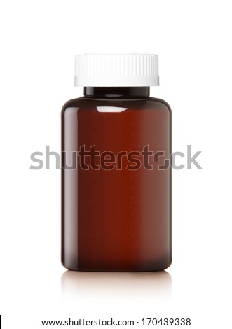 Medicine bottle of brown glass or Plastic isolated on white background, (clipping work path included). - stock photo