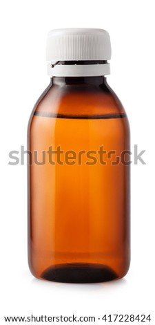 Medicine bottle of brown glass or plastic isolated on white background with clipping path. Medicine bottle without label. Sough syrup - stock photo