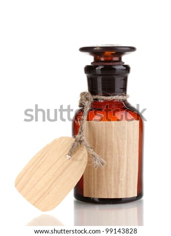 Medicine bottle with blank label isolated on white - stock photo