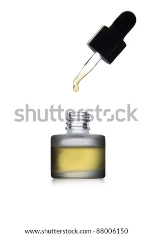 Medicine bottle with dropper isolated on white background. - stock photo
