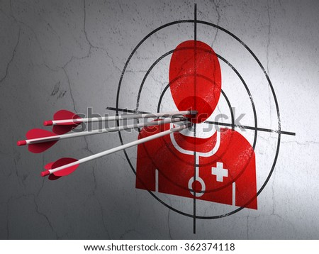 Medicine concept: arrows in Doctor target on wall background